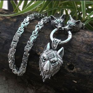 New Nordic Viking Stainless Wolf Head Necklace